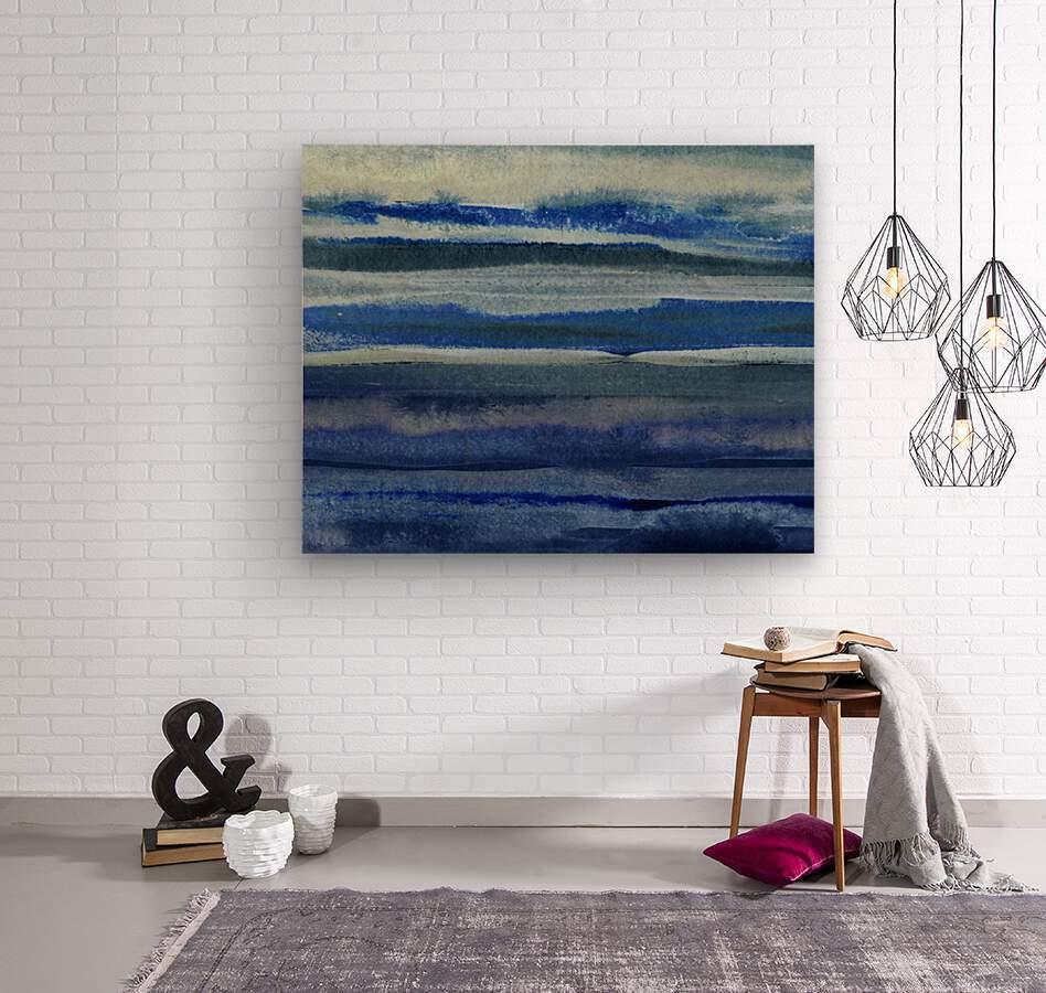 Ocean And Sea Beach Coastal Art Organic Watercolor Abstract Lines III  Wood print