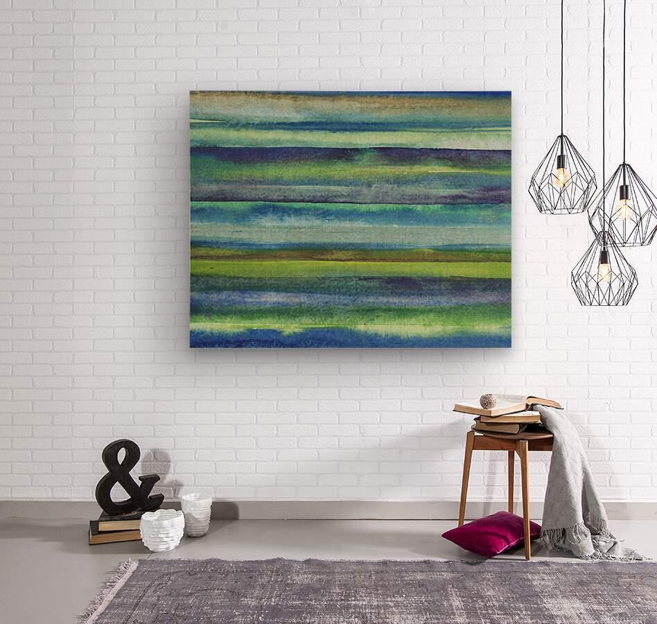 Ocean And Sea Beach Coastal Art Organic Watercolor Abstract Lines VI  Wood print