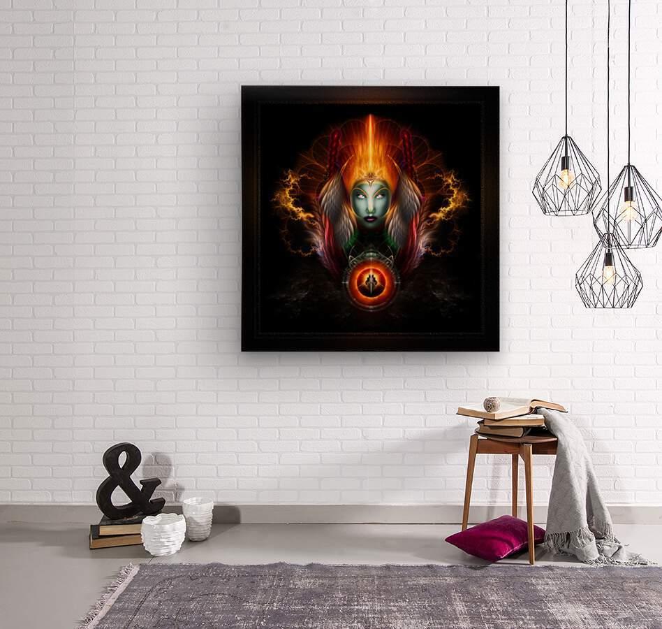 Riddian Queen Dynasty Of Power On Black Fractal Art Fantasy Portrait  Wood print