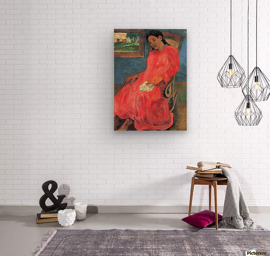 Woman in Red Dress by Gauguin  Wood print