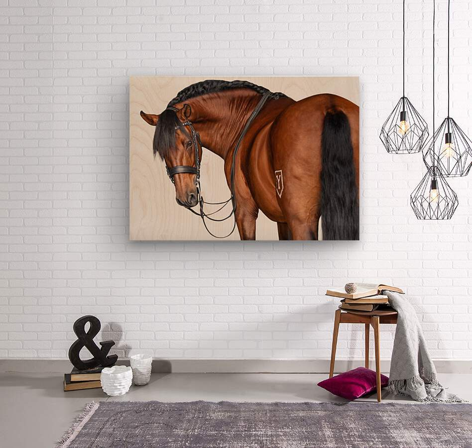 Bay Horse Portrait  Wood print