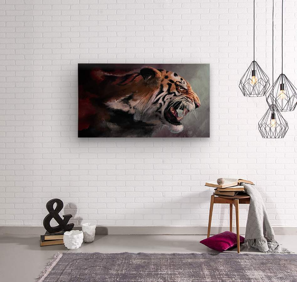 Lunging Tiger  Wood print