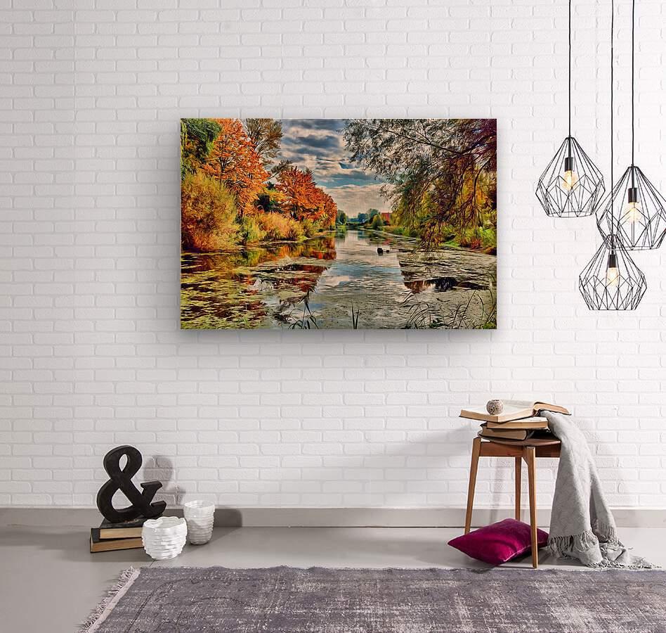 Autumn River  Wood print