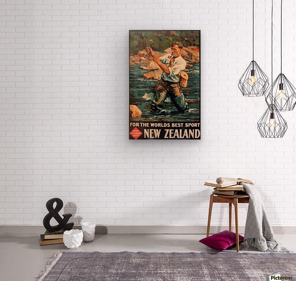 New Zealand Original Vintage Travel Poster  Wood print