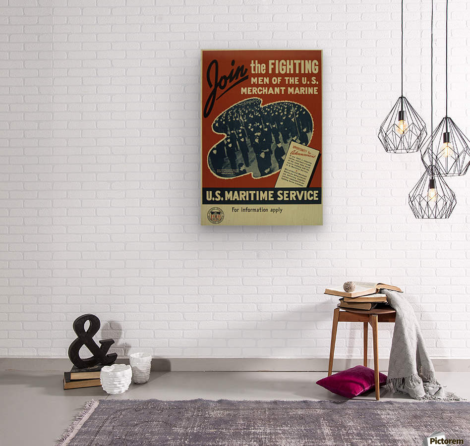 Join the Fighting Men of The US Merchant Marine  Wood print