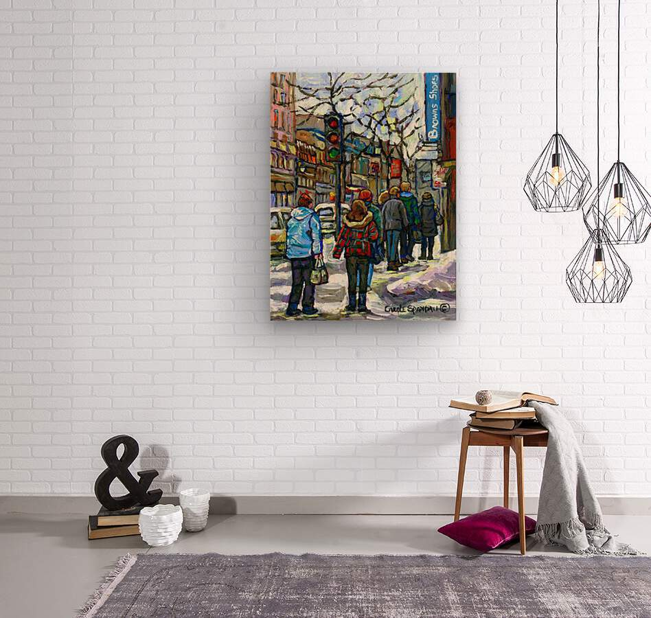 DOWNTOWN MONTREAL WINTER SCENE SHOPPERS ON ST. CATHERINE STREET  Wood print