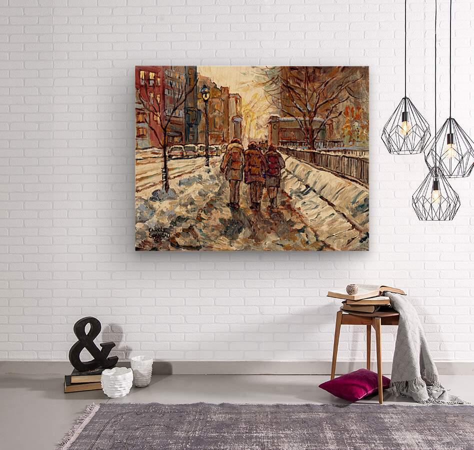 MONTREAL WINTER SCENE MCGILL WINTER WALK NEAR RODDICK GATES  Wood print