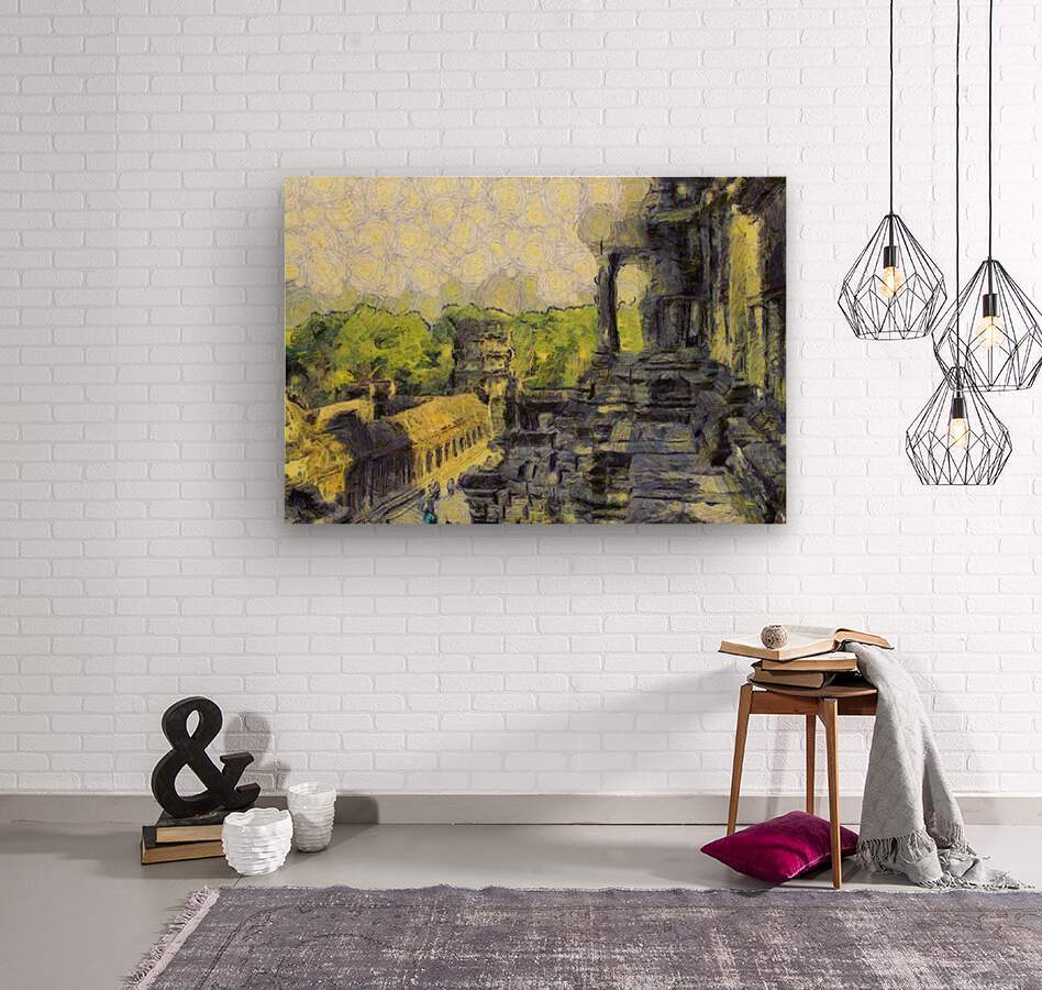 CAMBODIA Angkor Wat oil painting in Vincent van Gogh style. 130  Wood print