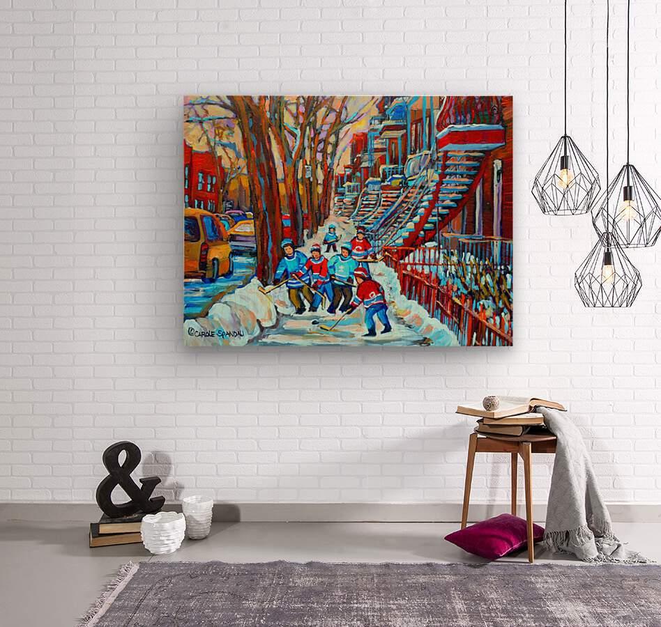 HOCKEY ON DEBULLION MONTREAL WINTER SCENE  Wood print