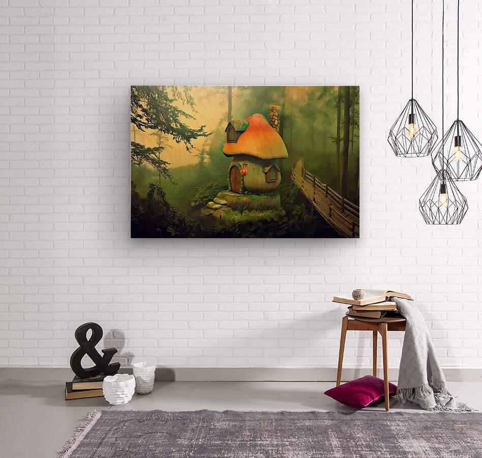 Mushroom Cottage  Wood print