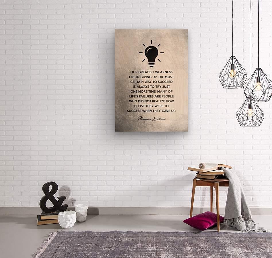 Thomas Edison Motivational Wall Art  Wood print