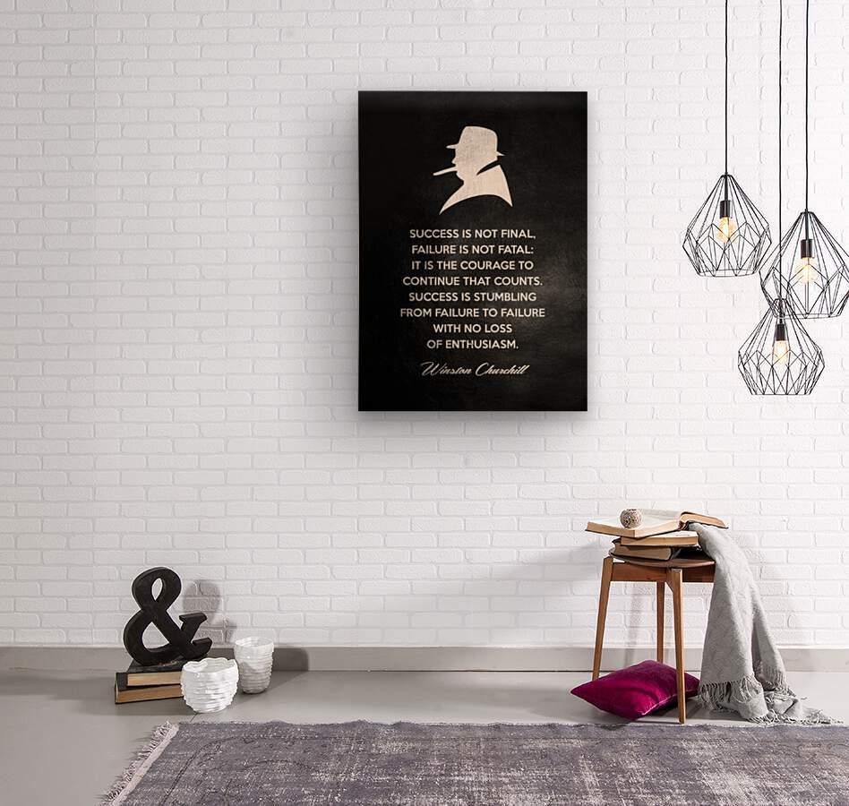 Winston Churchill Motivational Wall Art  Wood print