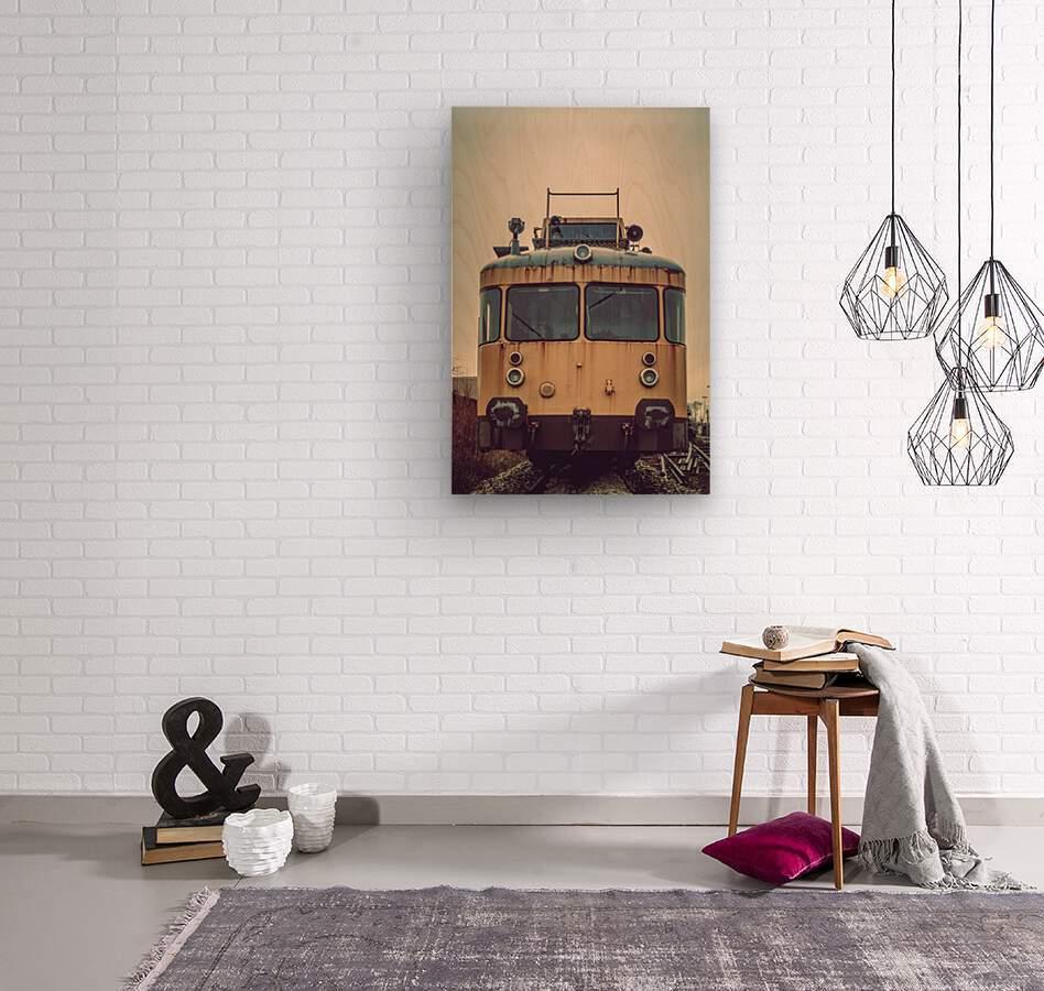 Junkyard train  Wood print