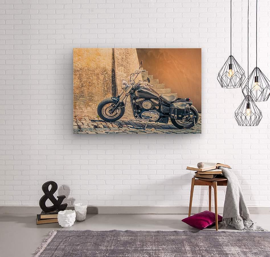 Chopper cruiser motorbike  Wood print