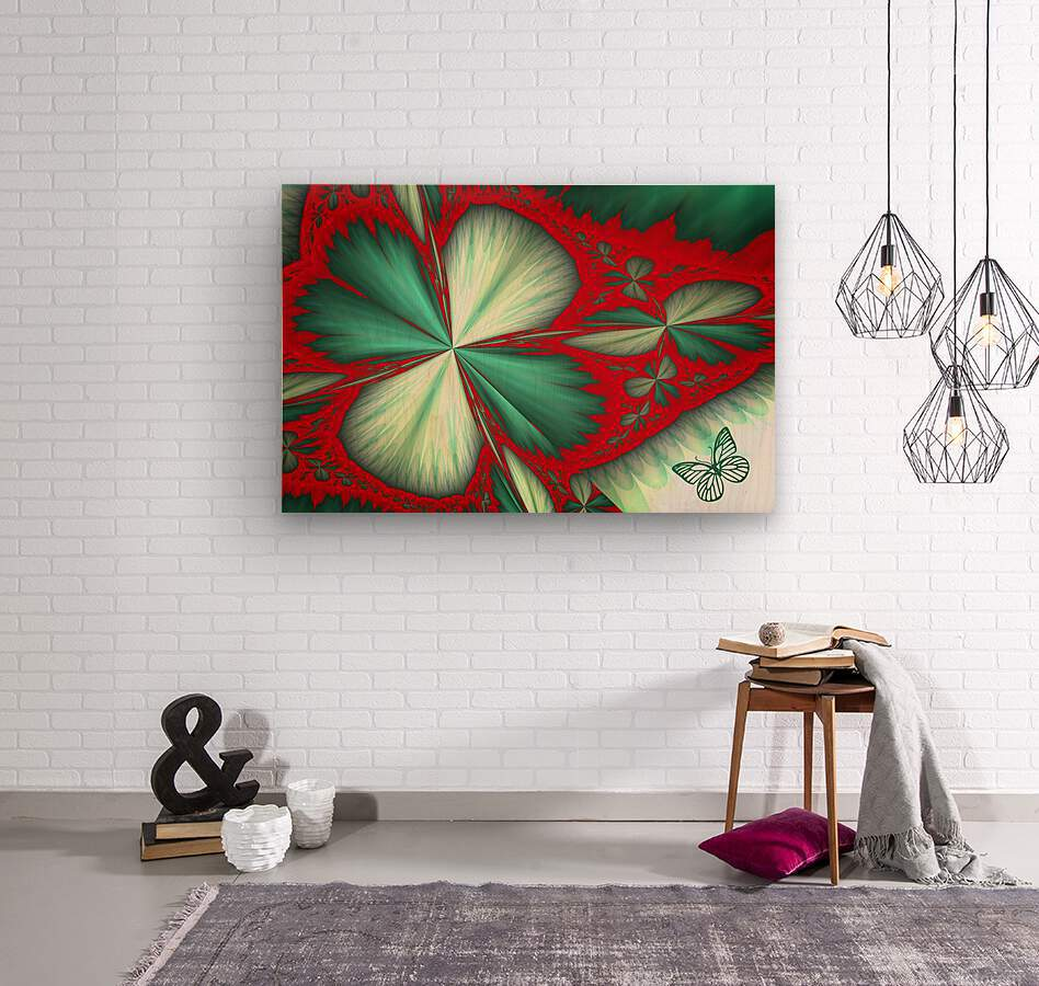 Shamrock and Butterfly  Wood print