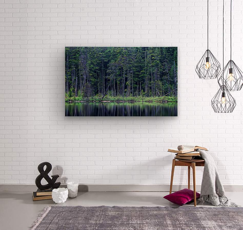 Forest by the Lake  Wood print