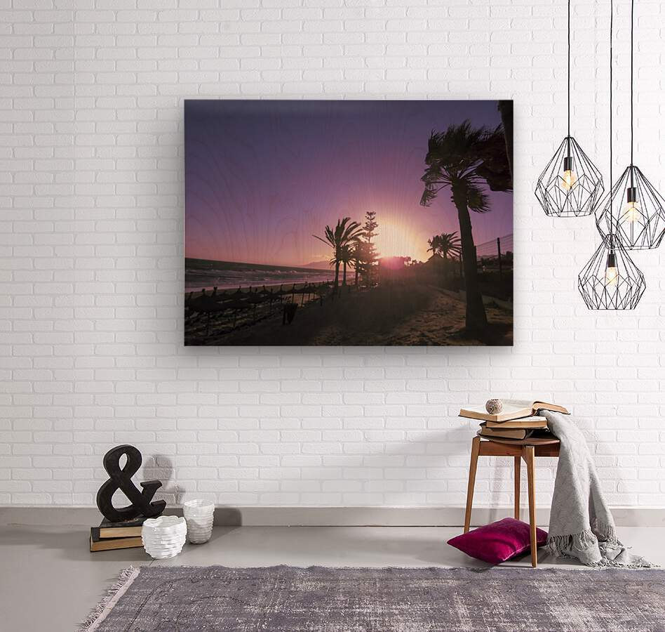 Sunset   Costa Del Sol   Andalusia Spain  Wood print