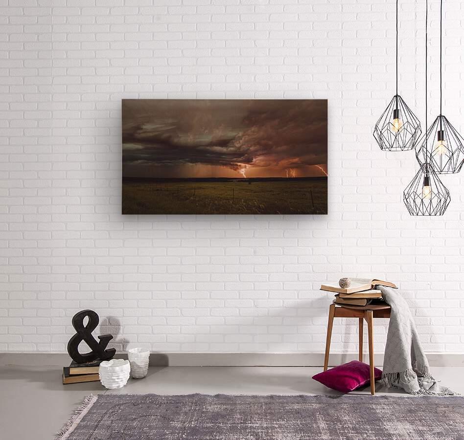 Lightning On The Prairies  Wood print