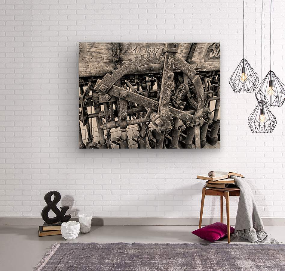 Antique Ploughing Machinery Black and White  Wood print
