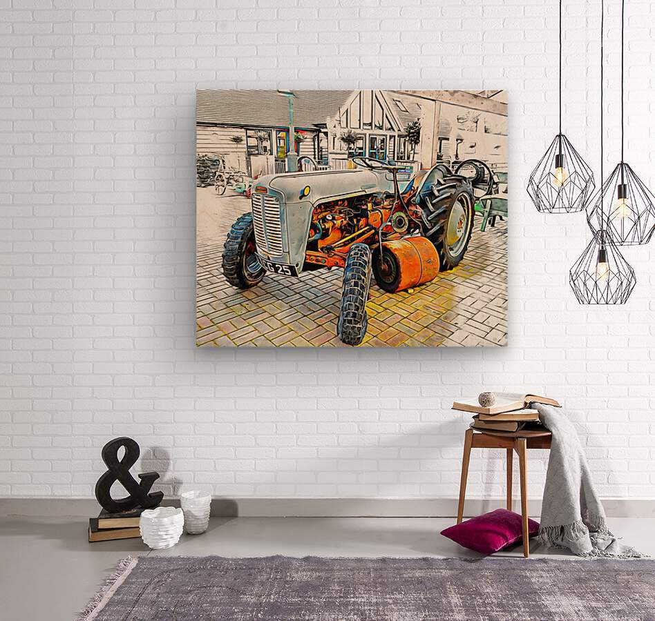 Ferguson Tractor and Hand Roller  Wood print