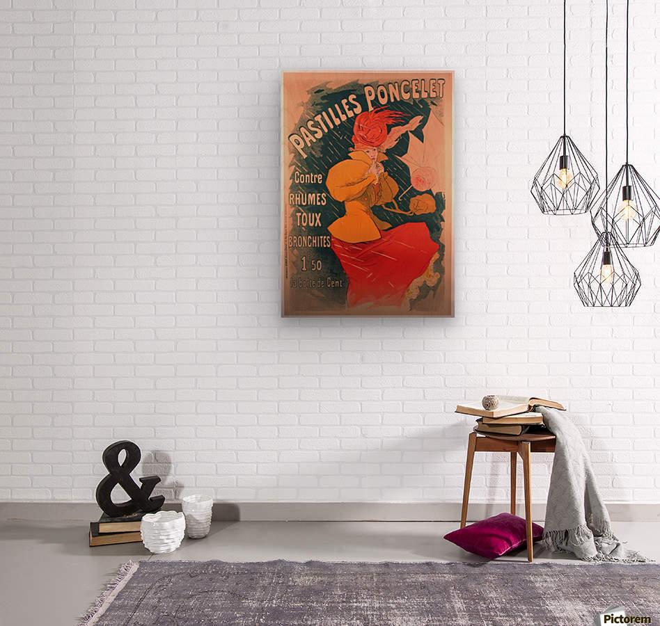 Original 1896 Lithograph Poster Pastilles Poncelet  Wood print