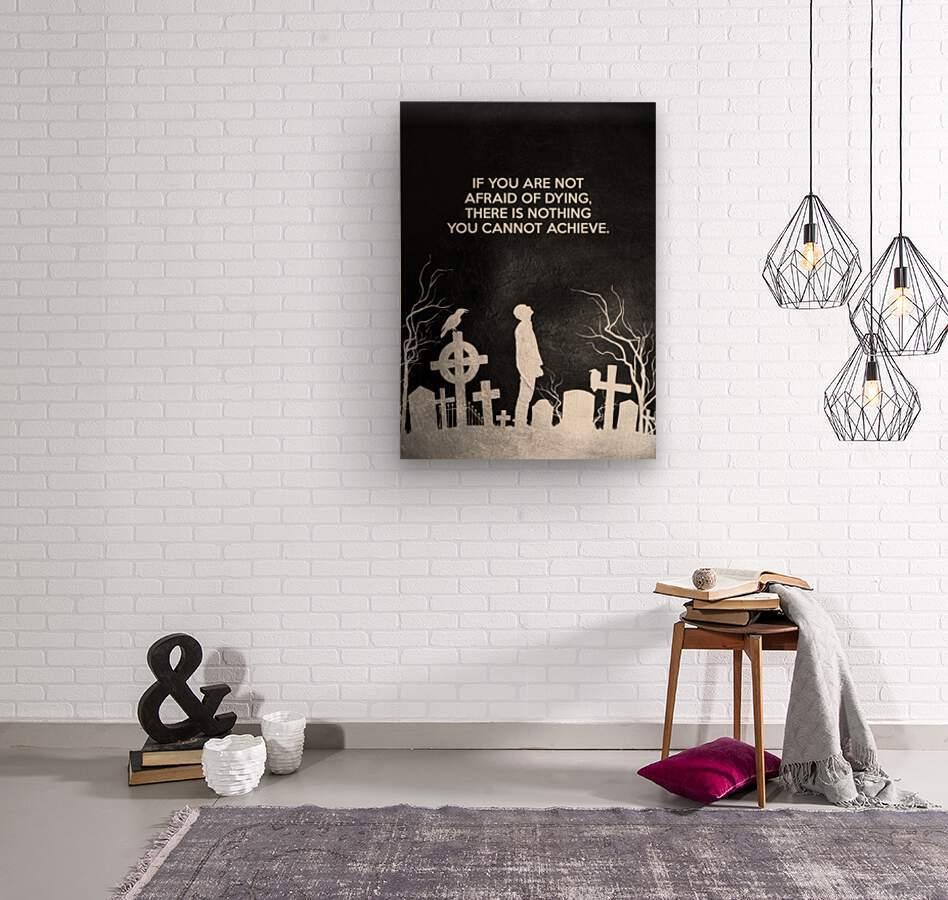 Laugh at Death Motivational Wall Art  Wood print