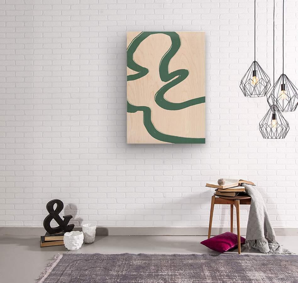 Road Green  Wood print