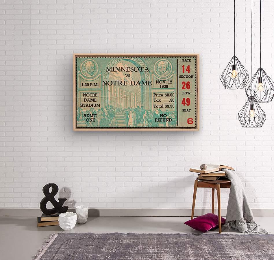 1938 Minnesota vs. Notre Dame Football Ticket Canvas  Wood print