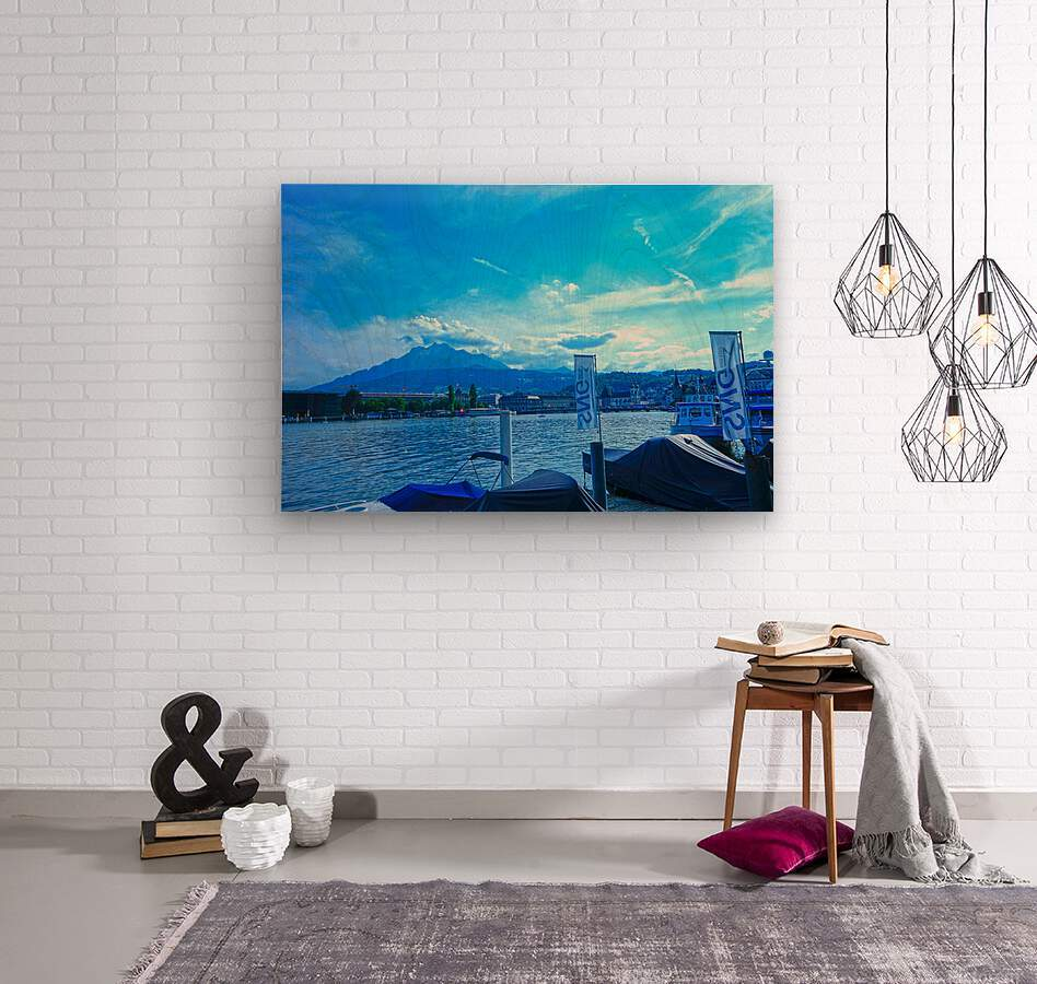 Blue Day Mount Pilatus on the Shores of Lake Lucerne   Central Swiss Alps  Wood print