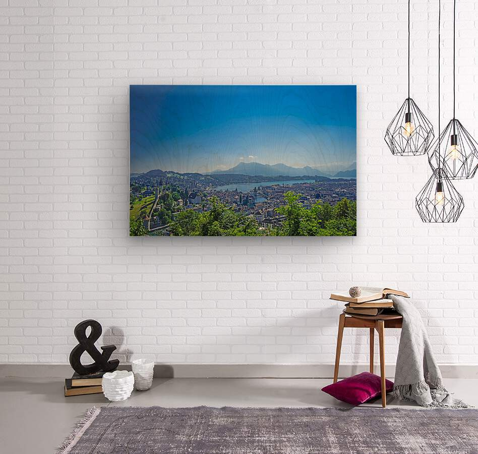 Stunning View Musegg Wall to Chapel Bridge to Lucerne and the Alps   Lucerne Switzerland  Wood print