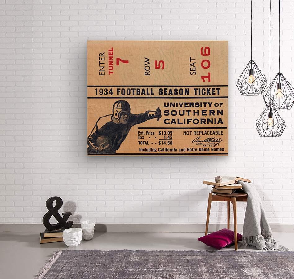 1934 USC Football Season Ticket   Wood print