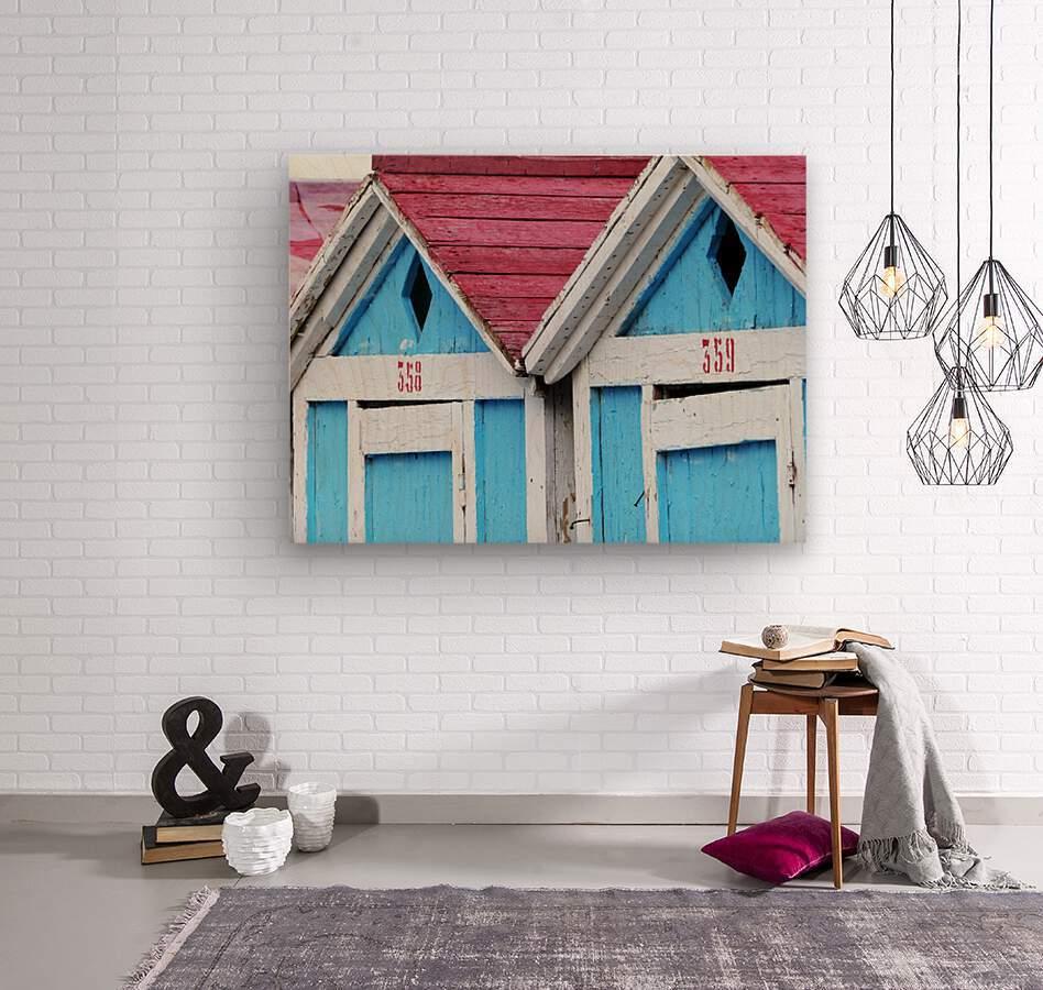 Beach cabin  Wood print