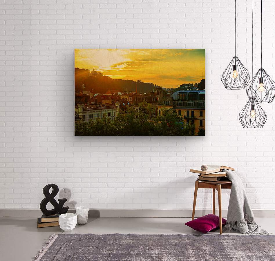 Summer Sunset over Lucerne Switzerland  Wood print