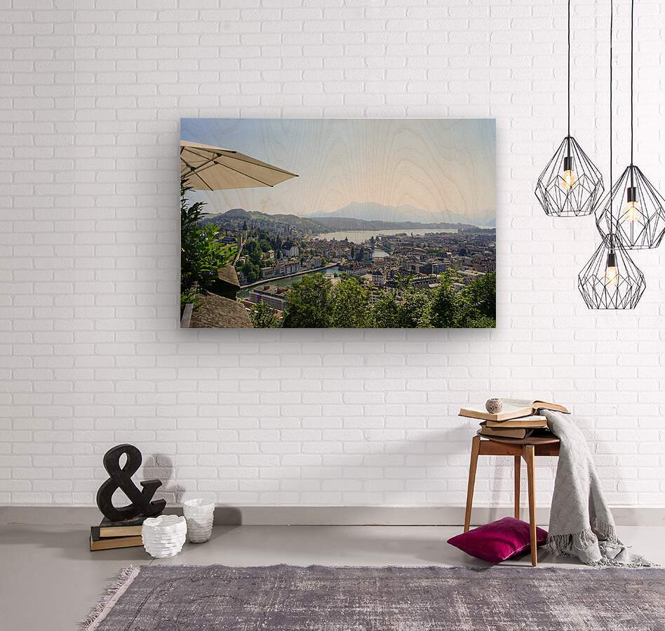 Stunning View to Lake Lucerne in the Central Swiss Alps  Wood print