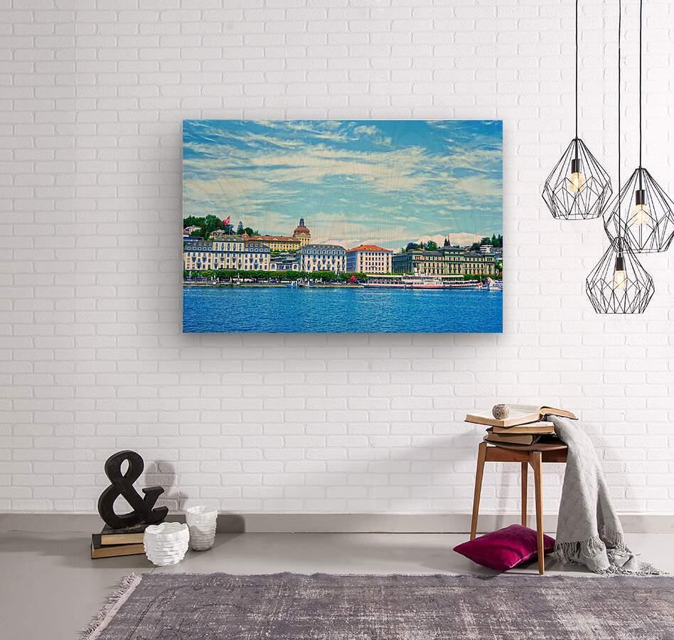 Waterfront   Lucerne Switzerland 2 of 3  Wood print