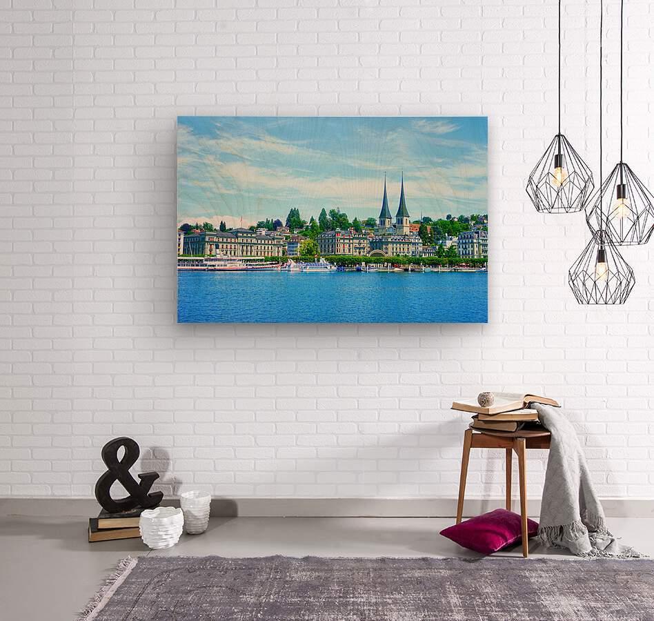 Waterfront   Lucerne Switzerland 1 of 3  Wood print