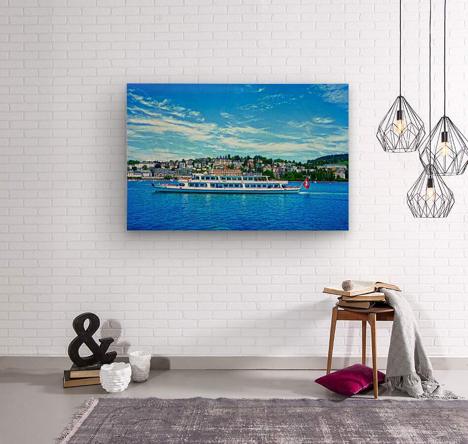 Cruise Boat On Lake Lucerne with City in Background in Switzerland  Wood print