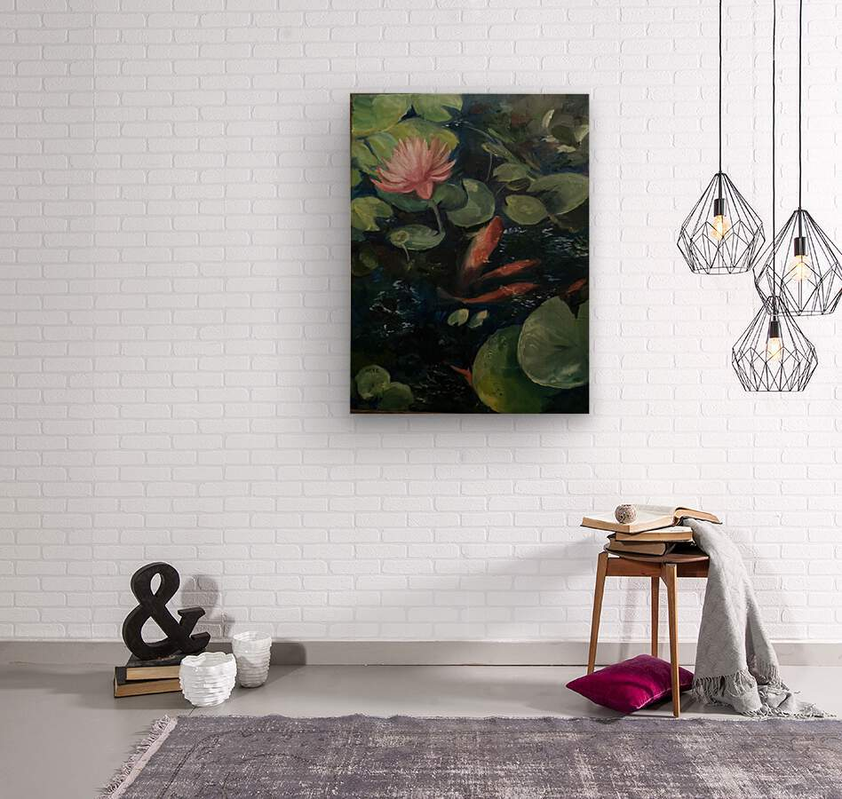 Koi with water lily   Wood print