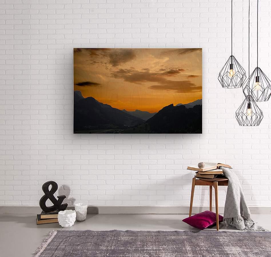 Sunset in the Saanen Valley in Switzerland  Wood print