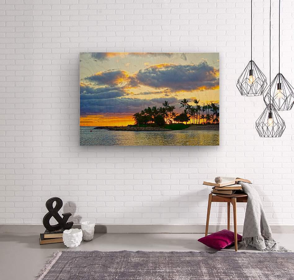 Sunset over Kaula Bay Hawaii  Wood print