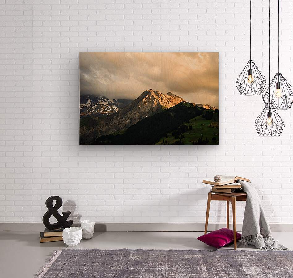 Mountain Bathed in the Golden Rays of the Sun at Sunset in Switzerland 1 of 3  Wood print