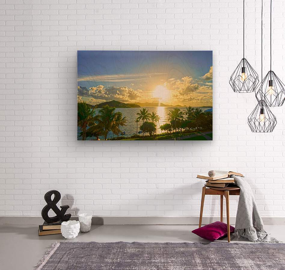 Sunset over Saint Thomas in the Caribbean Islands  Wood print
