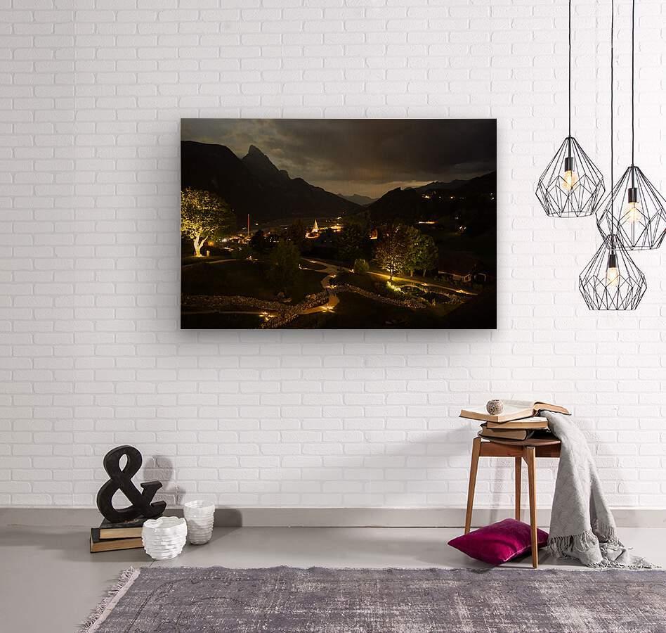Night Arrives in the Saanen Valley in Switzerland  Wood print