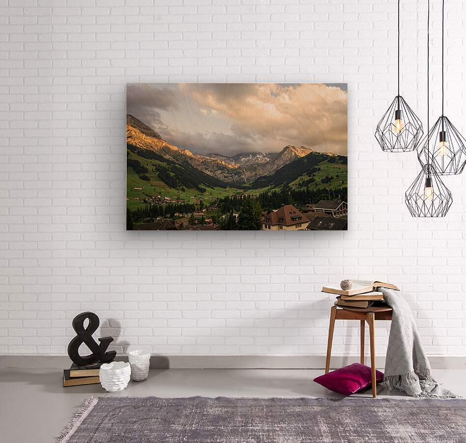 Golden Rays of the Sun Across the Mountains at Sunset in Switzerland 2 of 2  Wood print