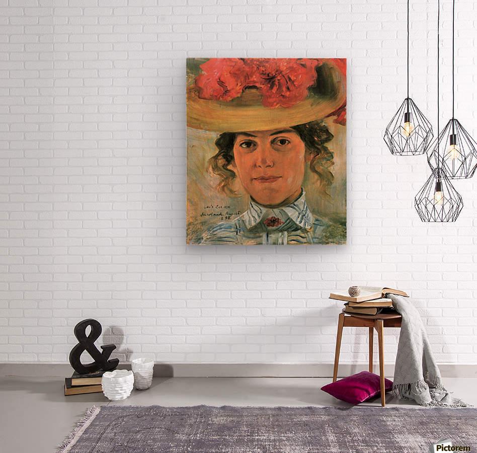 Womens Half-portrait with straw hat by Lovis Corinth  Wood print