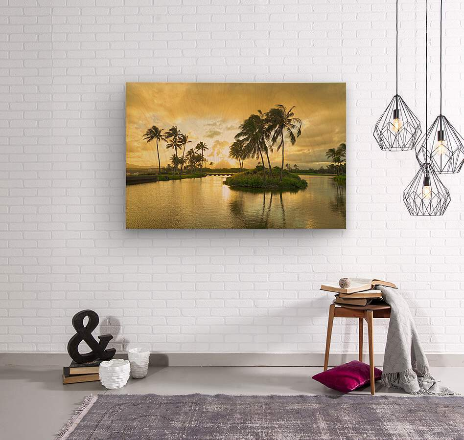 Shadows and Light as the Sun Sets in Kauai 2 of 2  Wood print