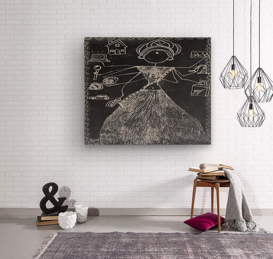 Warli Art Depicting multitask  Wood print
