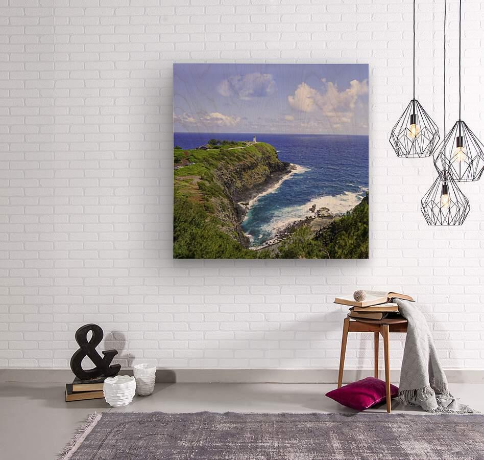 Kilauea Lighthouse on the Island of Kauai Square  Wood print