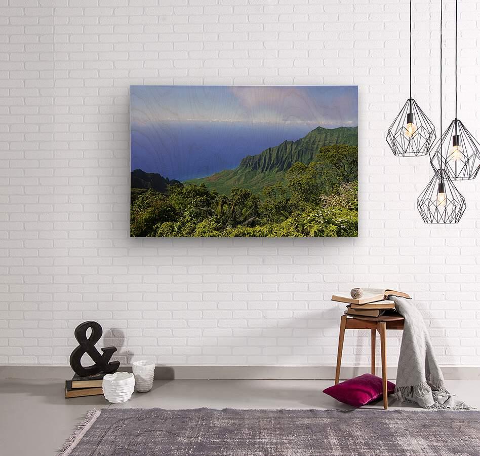 Blue Skies Puu O Kila Lookout Kohala Mountains on the Island of Kauai in Hawaii  Wood print
