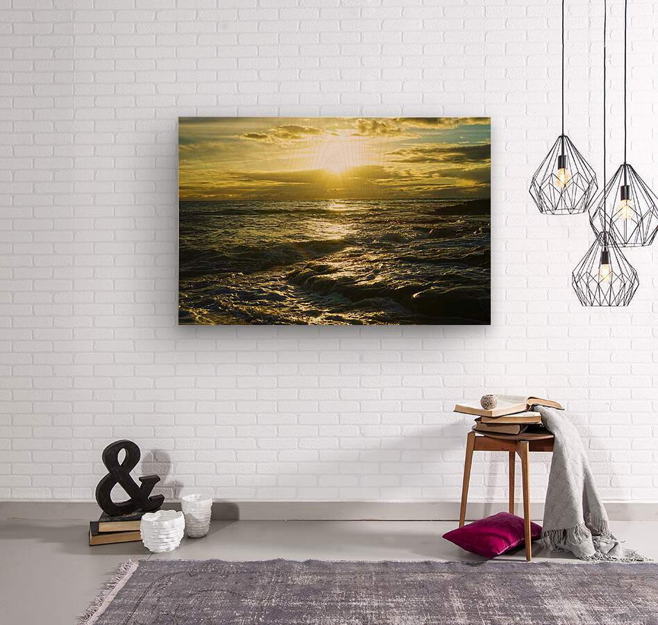 Sunlight and Shadows Play in the Waters at the Bay  Wood print